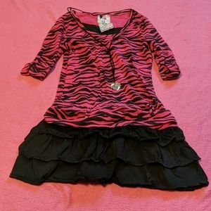 Beautees Zebra Print Dress with Necklace